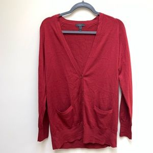 J. Crew Classic Merino Wool Long Cardigan Red